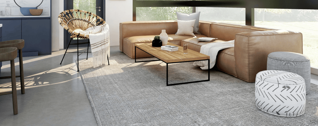 homely interior with gray rug