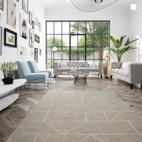 modern home interior with light brown geometric patterned rug